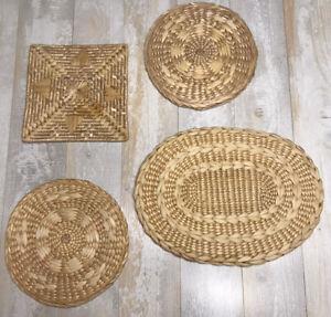 SET 4 Vintage Woven Wicker Rattan Wood Boho Straw Raffia Trivet Square Wall Hang