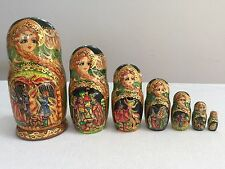 RUSSIAN FAIRY TALE FIREBIRD NESTING DOLLS HAND PAINTED SIGNED
