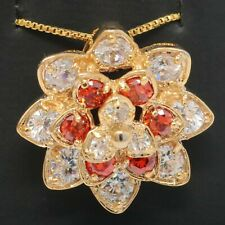 Gorgeous Round Ruby Red Diamond Flower Pendant Women Necklace Yellow Gold Plated