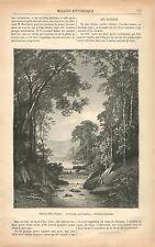 Paysage Rivière Cascade  par Pierre-Eugène Grandsire GRAVURE ANTIQUE PRINT 1879