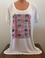 Lucky Brand Womens Plus Size 3X Short Sleeve T Shirt Flag Print 7Q82443