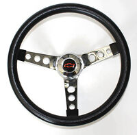 "Chevy Pick Up Blazer Black Foam Steering Wheel 14 1/2"" Red/Black Bowtie cap"