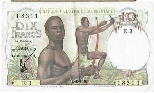 FRENCH WEST AFRICA BANKNOTE 10 P37 18.01.1946 aEF