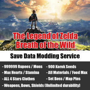Legend of Zelda Breath of the Wild Save Data Mod, Max Rupees / Hearts, 999 Items