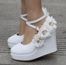 Womens Flowers Petal Beads Wedding Bridal White Wedge Heel Pumps Shoes New