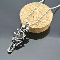 Infinity Skeleton Lovers Pendant Chain Steel Necklace Couple Skulls Halloween