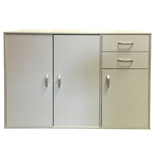 Walnut Sideboard Cupboard 3 Doors Plus 2 Drawers Wooden Cabinet Chest Unit White