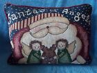 """Christmas Santa""""s Lil Angels Tapestry Pillow 16"""" x 12"""""""