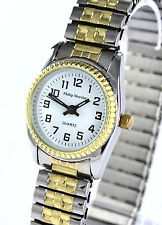 Philip Mercier Ladies Watch Easy To Read Goldtone & Silvertone Stretch Strap NEW