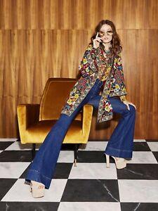 NWT ALICE + OLIVA – $375 Metallic Floral Willa Chiffon Silk Shirt Blouse Top – L