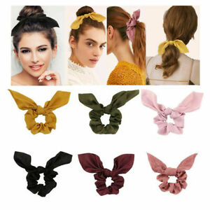 29Colors 1PC Silky Bunny Ears Bow Knotted Elastic Hair Bands Rabbit Ears Bowknot