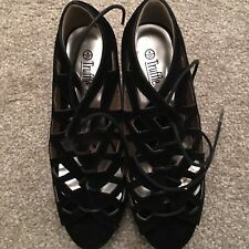 Black Suede Wedge Heel Shoes