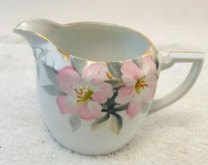 "VTG  Hand Painted Porcelain Creamer Cherry Blossom Floral Gold Embellishment 3."""