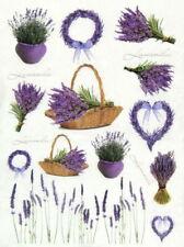 A/4 Rice Paper for Decoupage, Scrapbooking Sheet - Lavender in basket