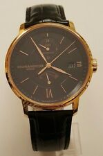 Baume and Mercier 18K Rose gold Classima GMT Automatic Black Dial Leather Men's