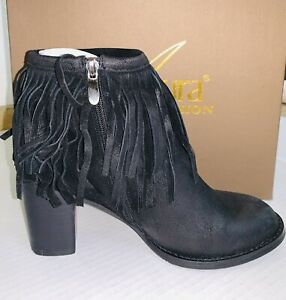 NEW in Box Azura Italy Bernat Black Suede Booties Fringe Ankle Boots Sz 38 US 8