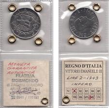 LIRE 2 VITTORIO EMANUELE III 1943 XXI ANNO FASCISTA SIGILLATA GARANTITA Q.FDC