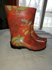 Slogger's Women's Size 9 Rain Garden Boots Paisley & Red