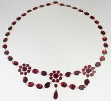 Ruby Red Garnet Floral Festoon Necklace Lovely Antique Georgian 10K Rose Gold
