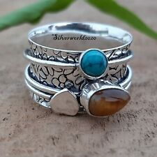Turquoise Spinner Ring 925 Sterling Silver Plated Handmade Ring Size 8 zz612