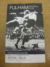 24/04/1965 Fulham v Aston Villa (arrugada, doblada, Usado, Pequeño número señaló en B