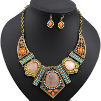 Women's Boho Hollow Statement Chain Choker Necklace Earrings Set Sassy