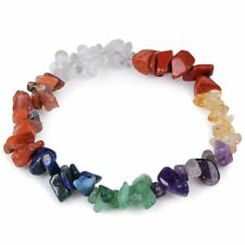 Chakra Stone Chip Bracelet Natural Healing Multi Colour Crystal Beaded Gemstones