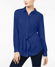 INC Bright Blue Tie & Button Front Blouse Top Long Sleeve Size XL MSRP $64