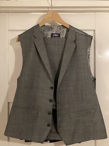 "Mens Grey Checked Waistcoat (XL 48"") & Trousers (36L) VGC"