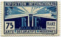 "FRANCE STAMP N° 215 "" EXPOSITION ARTS DECORATIFS PARIS 75c BLEU "" NEUF xx LUXE"