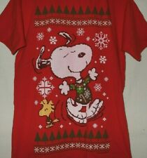 Peanuts Snoopy Woodstock Christmas T Shirt Size M Ugly Sweater Style