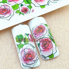 Fashion 3D Rose Flower Water Transfer Nail Art Stickers Decoration Tips 172#