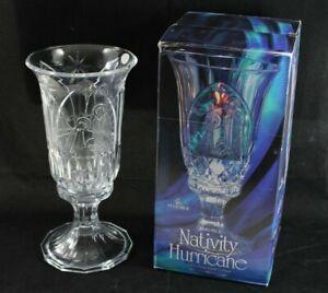 St. George Christmas 24% Lead Crystal Nativity Scene Hurricane Candle Holder VGC