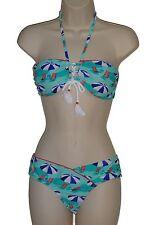 Hobie bikini swimsuit size M blue bandeau cheeky hipster 2 piece set new