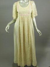 Vtg 70s Wedding Dress Joy Stevens Gown Off-White Cotton Empire Pink Ribbon Lace
