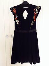 Karen Millen Boho Embroidered Black Dress Size 12 New