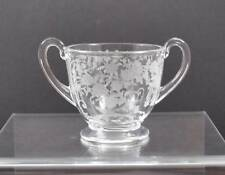 Vintage Etched Fostoria Buttercup Clear Crystal Glass Sugar Bowl 3 1/8""