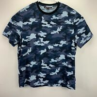 Michael Kors Mens Camo Print Crewneck Short Sleeve T-Shirt Blue L