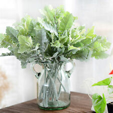 2Pcs Artificial Green Plant Dusty Miller Leaf Fake Flower Home Wedding Decor VQ