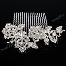 Bridal Wedding Jewelry Crystal Rhinestone Beautiful Flowers Hair Comb Pin