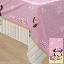 MINNIE MOUSE 1st BIRTHDAY PLASTIC TABLECOVER ~ First Party Supplies Decorations