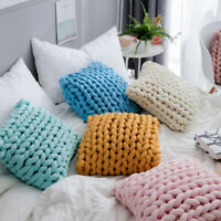 Handmade Chunky Knotted Pillow Knitted Cushion Soft Home Decor Sofa Bed Throw