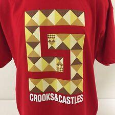 Crooks & Castles T Shirt Red Geometric Sleeve Logos 100% Cotton XL