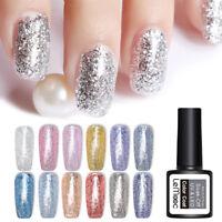LEMOOC 8ml Platinum UV Gel Soak Off Gel Polish Glitter Shimmer Nail Art Gel