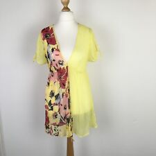 Jane Norman Yellow Floral Beaded Sequin Summer Beach Kaftan Top Size 14