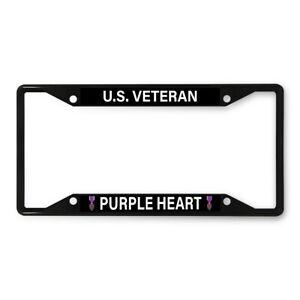 Metal License Plate Frame Vinyl Insert U.S. Veteran Purple Heart Flag Military