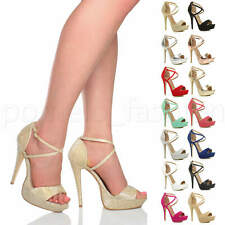 WOMENS LADIES HIGH HEEL PARTY CROSS STRAPPY PEEP TOE SHOES PLATFORM SANDALS SIZE
