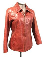 WILSONS Red Leather Maxima Coat Jacket XL Womens Short Arms Motorcycle Genuine
