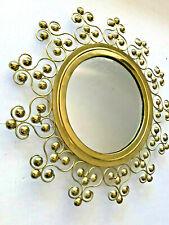 """16"""" VTG Hollywood Regency Spanish Beaded Starburst Brass Scrolls Wall Mirror MCM"""
