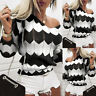 Women's Striped Long Sleeve Sweater Pullover Ladies Knitted Loose Jumper Tops